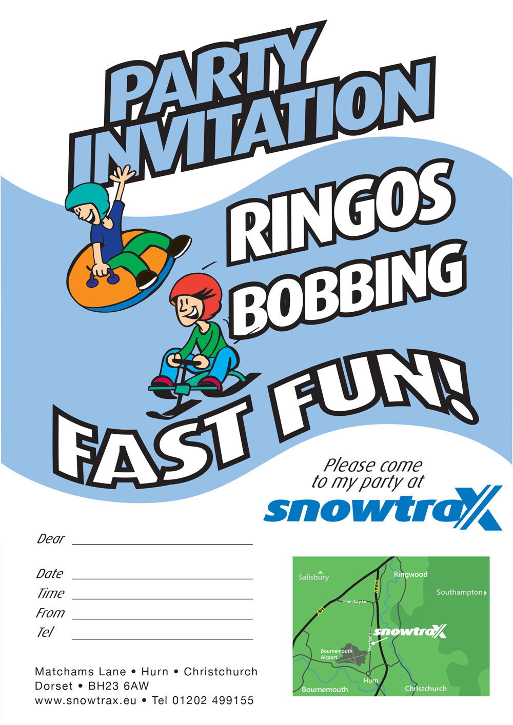 snowtrax party invite snowtrax skiing snowboarding activity